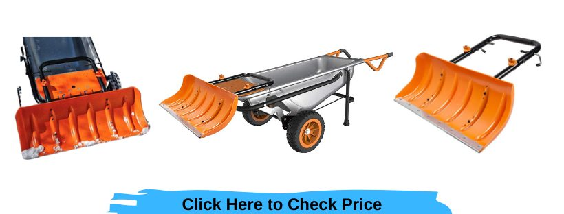 wa0230 worx snow plow accessory for aerocart wheelbarrow